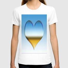Blue heart with golden touch  T-shirt