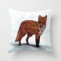 snow Throw Pillows featuring Red Fox by Ben Geiger