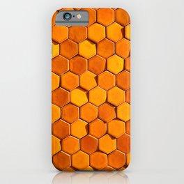 Bright orange sunlit hexagonal honeycomb tile  iPhone Case