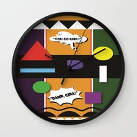 lydia martin Wall Clocks featuring Martin  by TheArtGoon