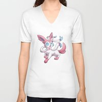 sylveon V-neck T-shirts featuring Sylveon by Jelecy