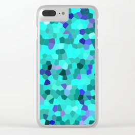Mosaic in Turquoise, Blue and Teal Clear iPhone Case