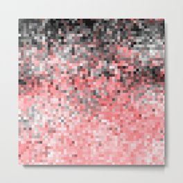 Coral Pink Gray Ombre Pixels Metal Print