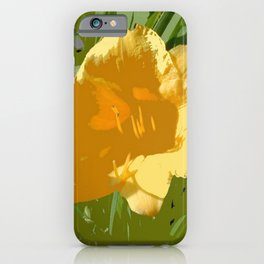 Yellow Daylily, spring flower, greenery iPhone Case
