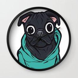 Black Pug Hoodie Wall Clock