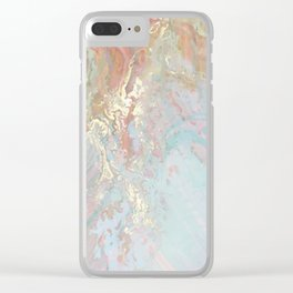 Pastel unicorn marble Clear iPhone Case