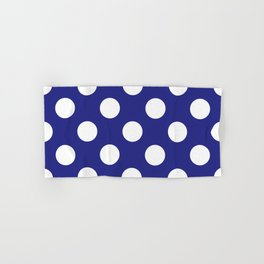 Geometric Candy Dot Circles - White on Navy Blue Hand & Bath Towel