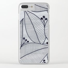 Black Leaves on Silvery Grey - II Clear iPhone Case