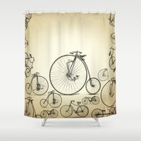 bicycle Shower Curtains featuring Bicycle by mark ashkenazi