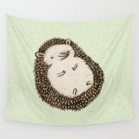 hedgehog Wall Tapestries featuring Plump Hedgehog by Sophie Corrigan