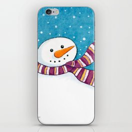 A Friendly Carrot-Nosed Snowman iPhone Skin