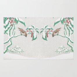 Sparrows in snow Rug