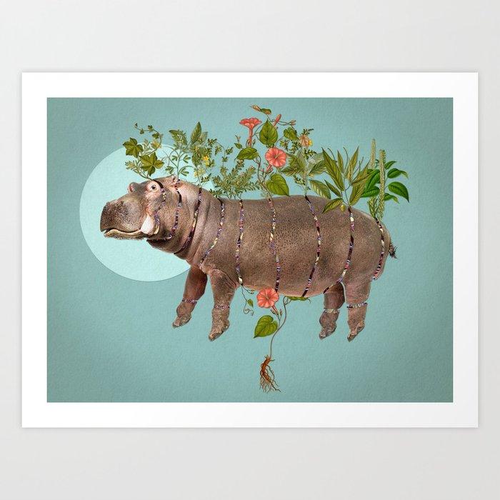 El espacio cortopunzante. Bestiario: Hipopótamo Art Print
