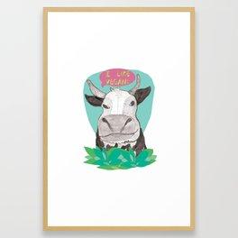 """cow says """"I like Vegans"""" Framed Art Print"""