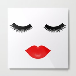 Lips and Lashes Metal Print