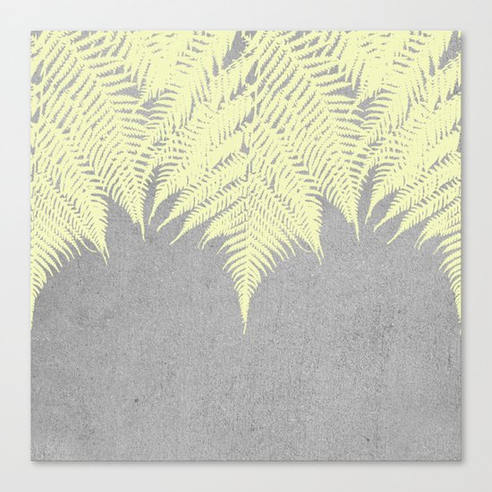 Concrete Fern Yellow Canvas Print