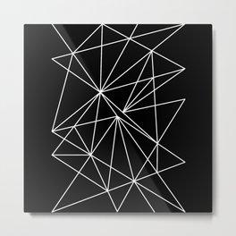 Geometric Abstract - Triangles #2 (White) Metal Print