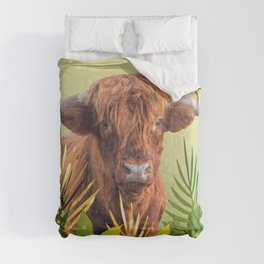 Highland Cow with grass Illustration Design Comforters