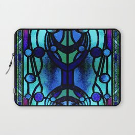 Blue and Aqua Stained Glass Victorian Design Laptop Sleeve