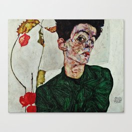 Egon Schiele  -  Self Portrait With Chinese Lantern Plant Canvas Print