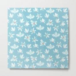 Elegant pastel blue white coral modern floral illustration Metal Print