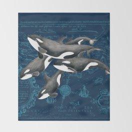 Orca Whales Family Indigo Vintage Map Throw Blanket