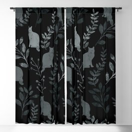 Watercolor Floral and Cat III Blackout Curtain