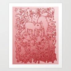 Pig Pile-Up! (splash-0-color edition) Art Print