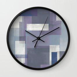 MODERN ABSTRACT NO. 9   LAVENDER, BLUE GRAY, INDIGO, WHITE + EGGPLANT Wall Clock