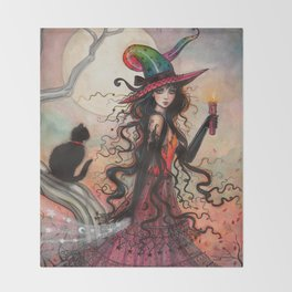 October Flame Halloween Witch and Black Cat Illustration Throw Blanket