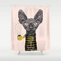 black cat Shower Curtains featuring Black Cat by dogooder