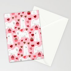 Samoyed valentines day dog portrait cute puppy dogs hearts love valentine for dog person Stationery Cards