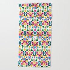 Colorful oriental watercolor floral pattern. Beach Towel
