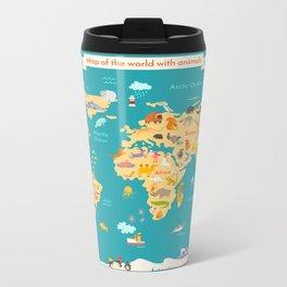 Animal map for kid. World vector poster Metal Travel Mug