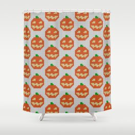 Knitted halloween pumpkin pattern Shower Curtain