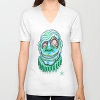 clown V-neck T-shirts featuring Clown by Kikillustration