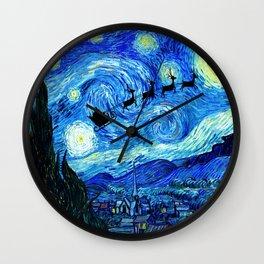 Santa Flying Starry Night Wall Clock