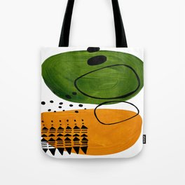 Modern Mid Century Fun Colorful Abstract Minimalist Painting Olive Green Yellow Ochre Buns Tote Bag