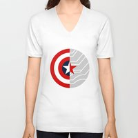 bucky V-neck T-shirts featuring Cap-Bucky design by Superhuman Disasters