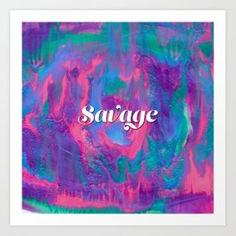 Savage Abstract Painting with Mermaid Colors Art Print