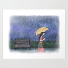 Girl in the Rain Art Print
