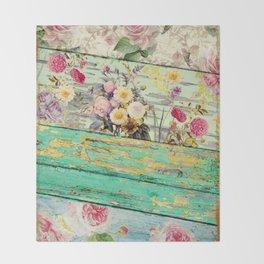 Villa Rosa Shabby Roses and Wood Throw Blanket