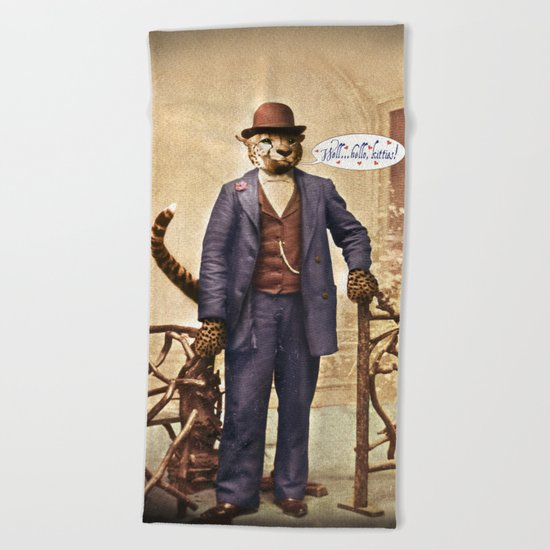 "One Cool Cat: ""Well . . . Hello, kitties!"" Beach Towel"