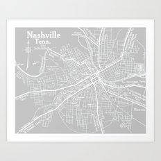 Vintage Nashville Gray Art Print