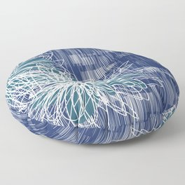 Blue Doodle Floral by Friztin Floor Pillow