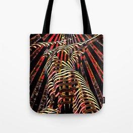 7068-KMA Abstract Feminine Spirit Zebra Striped Woman Powerful Colorful Fine Art Nude Tote Bag