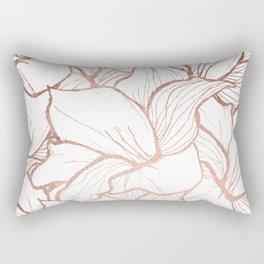 Modern handdrawn abstract faux rose gold flowers pattern Rectangular Pillow