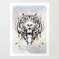 Dripping Tiger Art Print