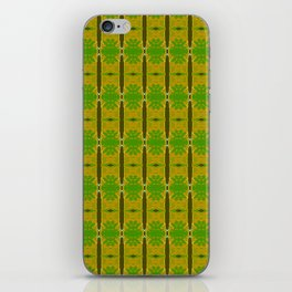 Heliconia Green Gold Stalks Pattern iPhone Skin