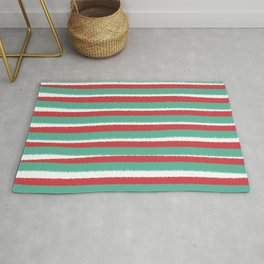 Red, White and Green, Christmas Striped Design Rug